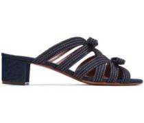 Meryl Bow-embellished Denim Sandals Dark Denim