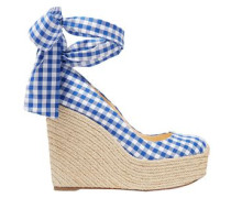 Woman Barbaria Zeppa 120 Gingham Canvas Wedge Espadrilles White