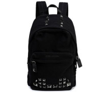 Studded leather-trimmed canvas backpack