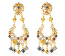 24-karat Gold-plated Crystal Earrings Gold Size --
