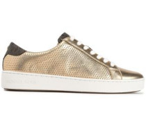 Woman Perforated Leather Sneakers Gold