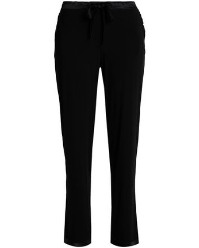 Satin-trimmed modal-blend jersey pajama pants