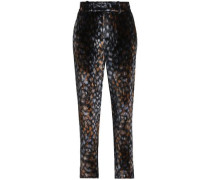 Printed chenille tapered pants