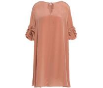 Ruffle-trimmed silk-crepe dress