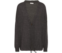 Bead-embellished Mélange Cashmere, Silk And Hemp-blend Cardigan Anthracite