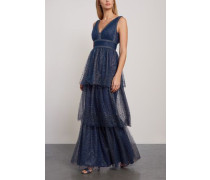 Tiered Embellished Metallic Tulle Gown Navy
