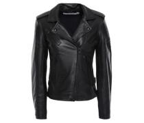 Newhan Washed-leather Biker Jacket Black
