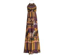 Cutout printed cotton-gauze halterneck maxi dress