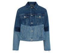 Frayed patchwork denim jacket