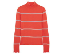 Margot striped stretch-knit turtleneck top