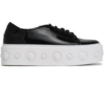 Embellished patent-leather platform sneakers
