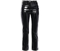 Paveli Cropped Stretch-vinyl Slim-leg Pants Black