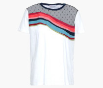 Paneled Point D'esprit And Cotton-jersey Top White