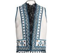 Pompom-embellished embroidered cotton-blend canvas vest