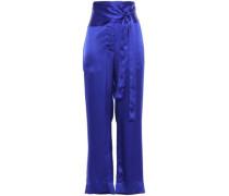 Belted Satin Wide-leg Pants Royal Blue Size 1