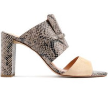 Snake-effect leather and suede mules