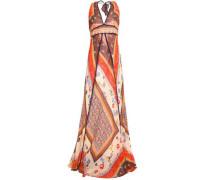 Printed cotton-gauze halterneck maxi dress