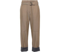 Woman Cropped Belted Wool And Cotton-blend Twill Straight-leg Pants Mushroom