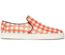 Gingham leather slip-on sneakers