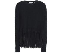 Fringed open-knit silk sweater