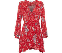 Wrap-effect Ruffled Chiffon Mini Dress Red