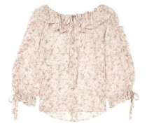Ruffled Floral-print Silk-georgette Blouse Off-white