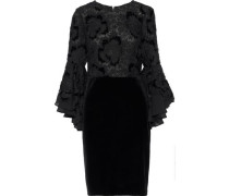 Layered Guipure Lace And Velvet Mini Dress Black Size 0