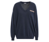 Bead-embellished Cashmere Sweater Navy