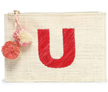 Woman Pompom-embellished Embroidered Straw Pouch Beige