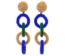 Beaded Clip Earrings Bright Blue Size --