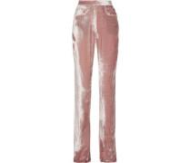 Velvet Straight-leg Pants Blush