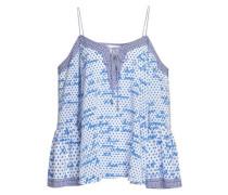 Polka Face Cold-shoulder Printed Silk Crepe De Chine Top Blue