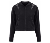Cropped mesh-paneled cutout shell hooded jacket