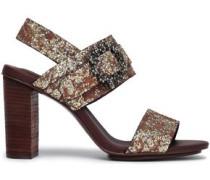 Rosie Crystal-embellished Glittered Leather Sandals Bronze