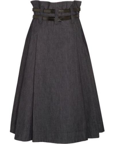 Leather-trimmed pleated denim midi skirt