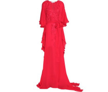 Draped embroidered silk gown