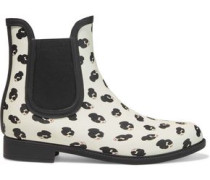 Woman Rainely Printed Rubber Rain Boots White