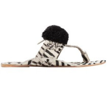 Leo Pompom-embellished Printed Calf Hair Sandals Animal Print