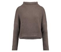 Asymmetric open-knit turtleneck sweater