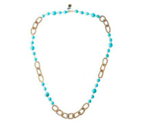Gold-tone Bead Necklace Turquoise Size --