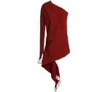 One-shoulder cutout stretch-knit top