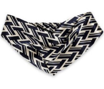 Twisted Printed Silk-satin Headband Navy Size --