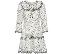 Woman Jaya Scallop Swiss-dot Linen Mini Dress Ivory