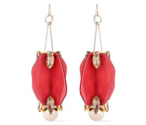 Silver And Gold-tone, Acetate And Crystal Earrings Crimson Size --