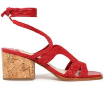 Woven leather and cork sandals