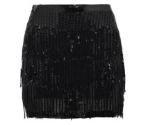 Mondaine Fringed Embellished Chiffon Mini Skirt Black