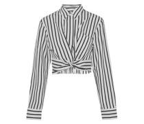 Cropped striped cotton-blend poplin shirt
