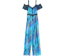 Cold-shoulder printed silk jumpsuit