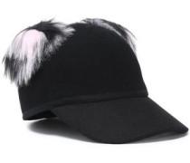 Faux fur-trimmed brushed wool baseball cap