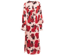 Woman Jenna Floral-print Satin Midi Dress Antique Rose